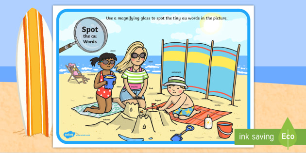 Phase 5 au Words Beach Scene Magnifying Glass Worksheet / Activity Sheet - phonics, letters and sounds, phase 5, au sound, magnifier, magnifying glass, find, activity, group,