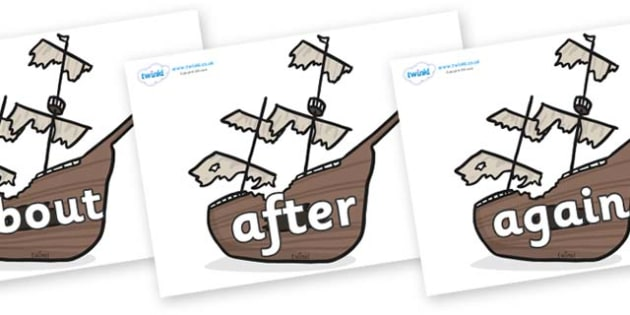 KS1 Keywords on Shipwrecks - KS1, CLL, Communication language and literacy, Display, Key words, high frequency words, foundation stage literacy, DfES Letters and Sounds, Letters and Sounds, spelling