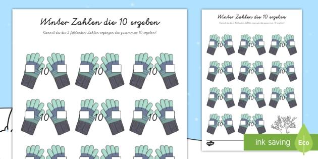 Winter Zahlen die 10 ergeben Arbeitsblatt - Winter Zahlen die 10