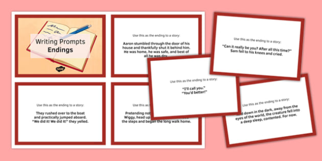 Ten Endings for Writing Prompts Cards - ten, endings, writing, prompts, cards