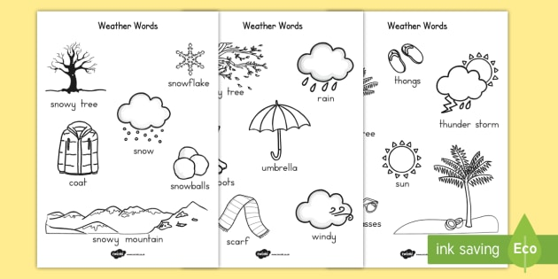 Winter Words Colouring Sheet Temperate