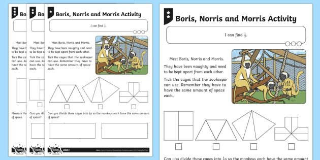 Find 1/3 of a Shape or Quantity Differentiated Activity Sheets - Fractions, third, 1/3, share, divide, monkey, zoo