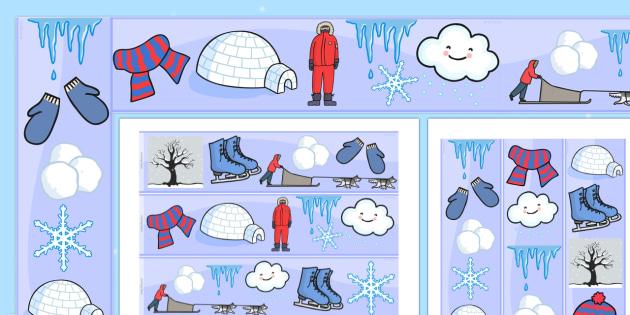 Winter Season Display Borders - winter, seasons, weather, borders