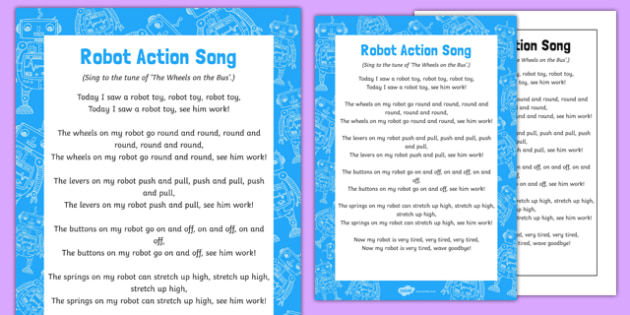 Robot Action Song Poster - EYFS, Early Years, rhyme, robots, machines, space