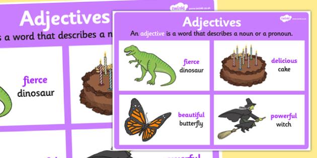 Adjective Display Poster - adjectives, grammar, literacy, vocab