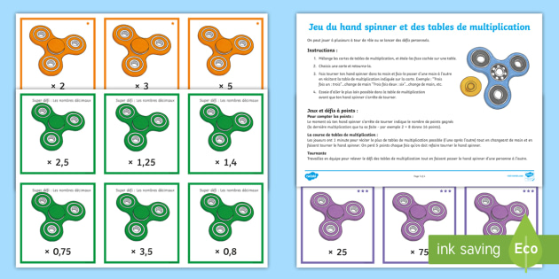 Jeu de d fis du hand spinner et des tables de multiplication for Jeu des multiplications