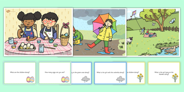 Spring Scenes and Question Cards Pack - spring scenes, questions, comprehension pack