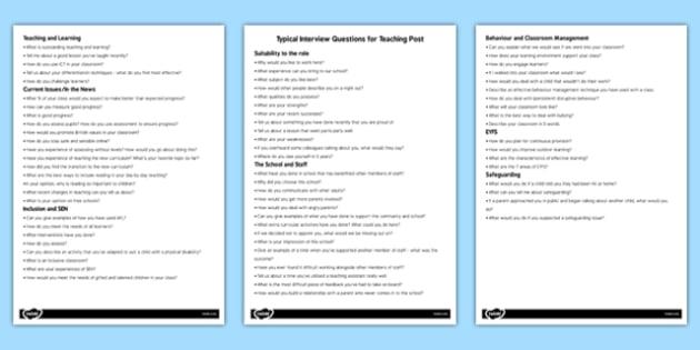 Teacher Job Interview Questions - interviews, planning, plan