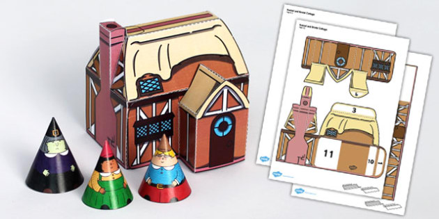 Hansel and Gretel Cottage Paper Model - traditional, tales, craft