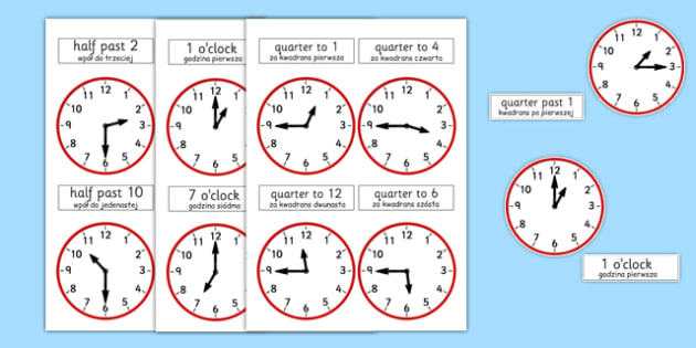 Analogue Clocks Polish Translation - polish, analogue, clocks, time, quarter past, o'clock