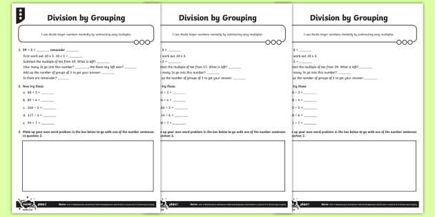 Division by Grouping Worksheet / Worksheets