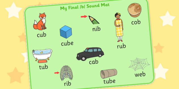 Final B Sound Word Mat - final, b, sound, word mat, word, mat