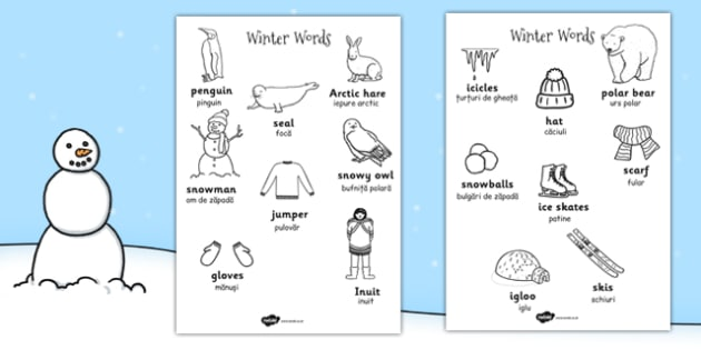 T T Winter Words Colouring Sheets EAL Romanian Translation Version ver 2