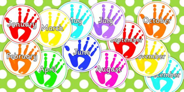 Handprints Months of the Year - handprints, months, year, print