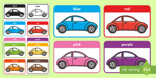 Colours on Cars Flashcards - colours, cars, flashcards, flash cards