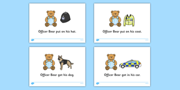 Officer Bear Read Aloud Story - Officer Bear, Police Officer, police station, hat, car, siren, dog, coat, light, help, save, rescue, emergency, 999