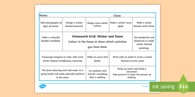 Math 103b Winter 2020.Winter And Snow First Level Cfe Homework Grid Home