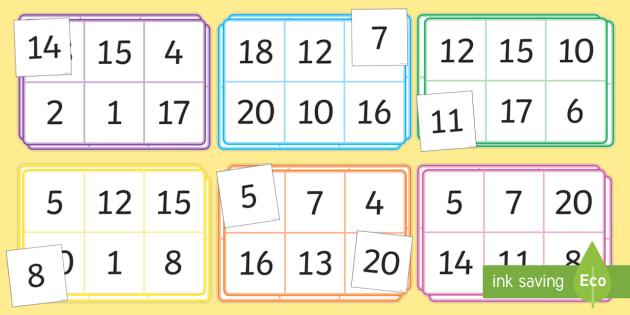 Bingo and Lotto Game 1-20 - bingo, lotto, game, 1, 20, activity