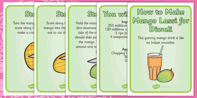 Mango Lassi Diwali Recipe Cards - cooking, cook, recipes, hindu