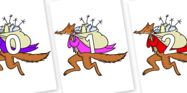 Numbers 0-31 on Mr Fox to Support Teaching on Fantastic Mr Fox - 0-31, foundation stage numeracy, Number recognition, Number flashcards, counting, number frieze, Display numbers, number posters