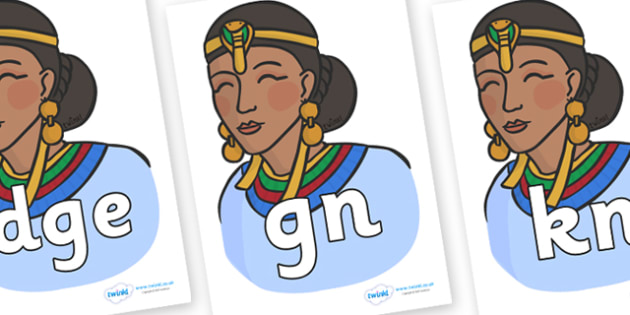 Silent Letters on Egyptian Women - Silent Letters, silent letter, letter blend, consonant, consonants, digraph, trigraph, A-Z letters, literacy, alphabet, letters, alternative sounds