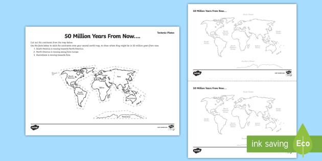 Tectonic Plates 50 Million Years From Now Worksheet