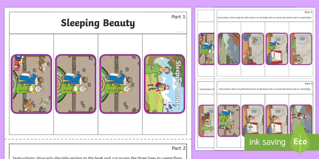 Sleeping Beauty Story Writing Flap Book - flap book, sleeping