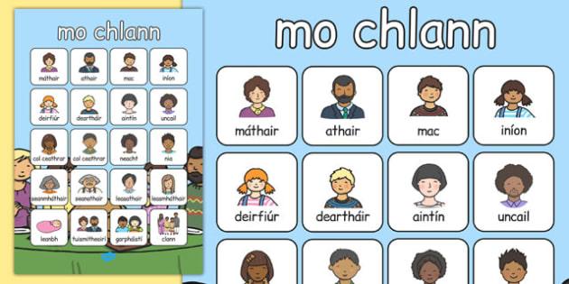 mo chlann Vocabulary Poster Gaeilge - gaeilge, my family, vocabulary poster, vocabulary, poster, display