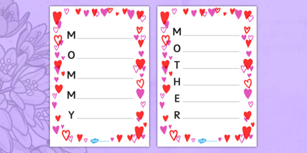 Mother's Day Acrostic Poem Sheets Hearts - usa, america, acrostic poems, acrostic poem, acrostic, mommy, mother, mothers day, mommy acrostic poem, mother acrostic poem, mothers day acrostic poem, poem, poetry, literacy, writing activity, activity