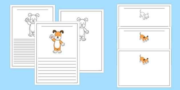 Dog Themed Writing Frames to Support Teaching on The Blue Balloon - kipper, kipper the dog, kippers birthday, writing frames