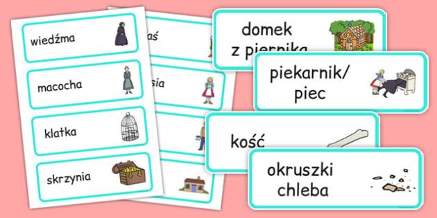Karty ze słownictwem Jaś i Małgosia po polsku - baśnie
