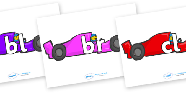 Initial Letter Blends on Racing Cars - Initial Letters, initial letter, letter blend, letter blends, consonant, consonants, digraph, trigraph, literacy, alphabet, letters, foundation stage literacy