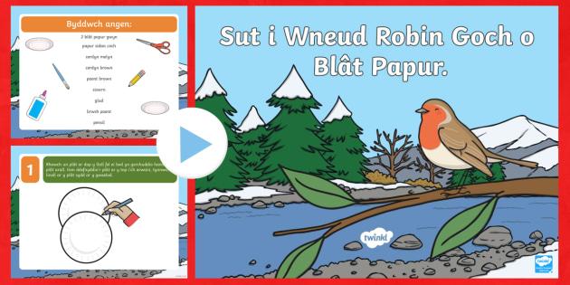 Pŵerbwynt Sut i Wneud Robin Goch o Blât Papur - Welsh, nadolig, robin, creu, celf, platiau papur, Celf a chrefft