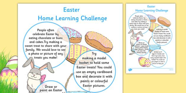 EYFS Easter Home Learning Challenge Sheet Nursery FS1 - EYFS planning, early years activities, homework, festival
