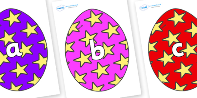 Phase 2 Phonemes on Easter Eggs (Stars) - Phonemes, phoneme, Phase 2, Phase two, Foundation, Literacy, Letters and Sounds, DfES, display
