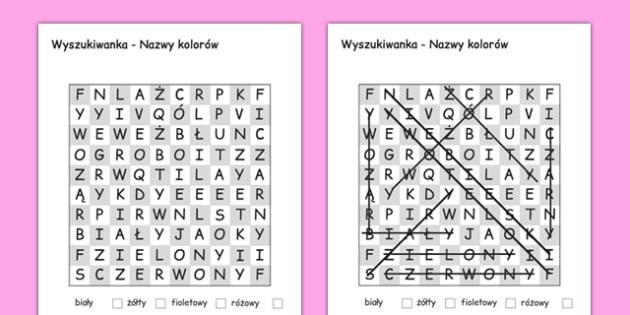 Wyszukiwanka Kolory po polsku - nauczanie początkowe
