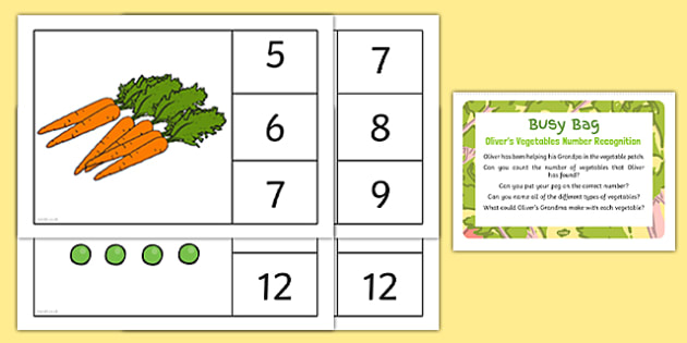 Oliver's Vegetables Number Recognition Busy Bag Prompt Card and Resource Pack