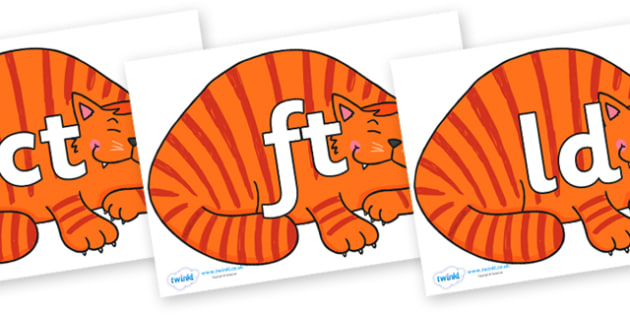 Final Letter Blends on Hullabaloo Cat to Support Teaching on Farmyard Hullabaloo - Final Letters, final letter, letter blend, letter blends, consonant, consonants, digraph, trigraph, literacy, alphabet, letters, foundation stage literacy