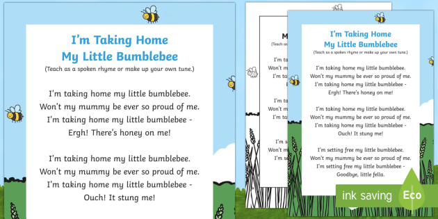I'm Taking Home My Little Bumblebee Song - minibeasts, bugs, bee, wasp