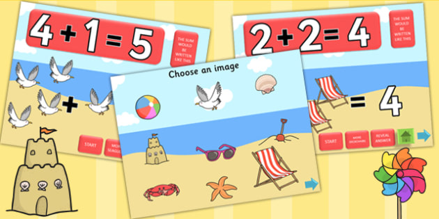 Seaside Themed Addition PowerPoint - sea side, seaside, adding