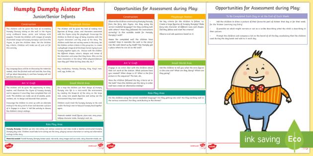 ROI Humpty Dumpty Aistear Planning Template - Aistear, Infants