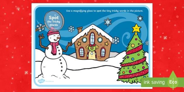 Phase 2 Tricky Words Christmas Scene Magnifying Glass Worksheet