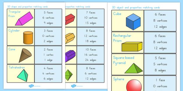 3D Shape and Properties Matching Cards - australia, 3d, shape
