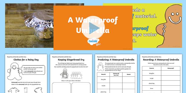 KS1 A Waterproof Umbrella Video Activity Pack - Animation, video, science, ks1, investigate, fair test, materials, properties, waterproof, gingerbre