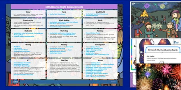 EYFS Bonfire Night Enhancement Ideas and Resources Pack - eyfs, bonfire night, enhancement, ideas, planning