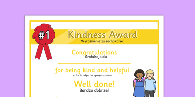Kindness Award Certificate Polish Translation - polish, kindness award, certificate, kindness, award
