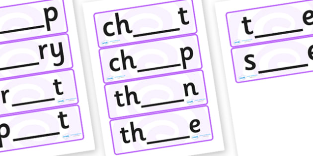 Fill in the Blank Word Cards - missing letters word cards, incomplete words cards, make the words word cards, word creation word cards, phonics, words