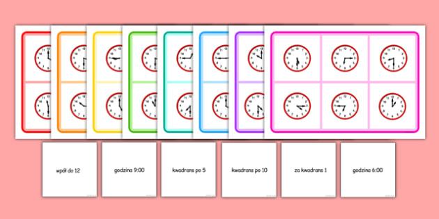Gra bingo Czas po polsku - godzina, zegar, gra, zabawa - polish, Mixed time bingo, time game, Time resource, Time vocabulary, clock face, Oclock, half past, quarter past, quarter to, shapes spaces measures