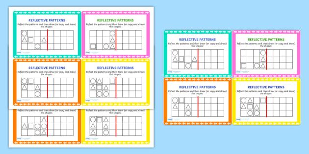 Reflective Patterns Maths Challenge Cards - reflect, patterns