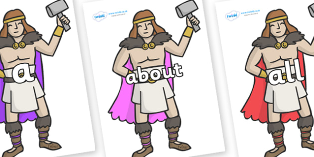 100 High Frequency Words on Viking Warriors - High frequency words, hfw, DfES Letters and Sounds, Letters and Sounds, display words